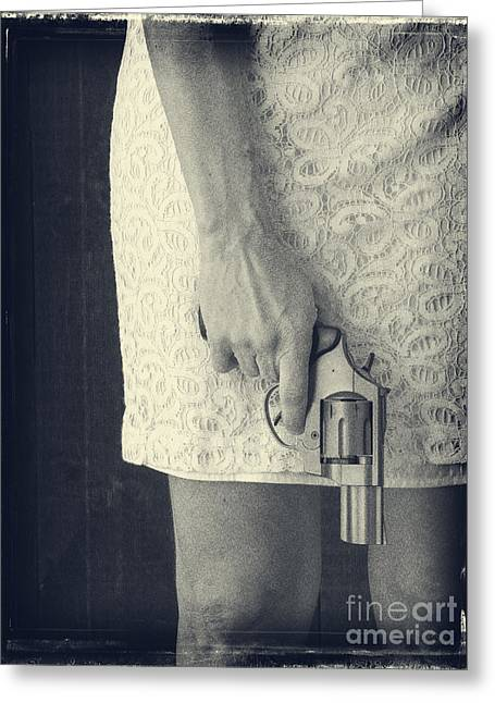 Pistol Greeting Cards - Woman with Revolver Greeting Card by Edward Fielding
