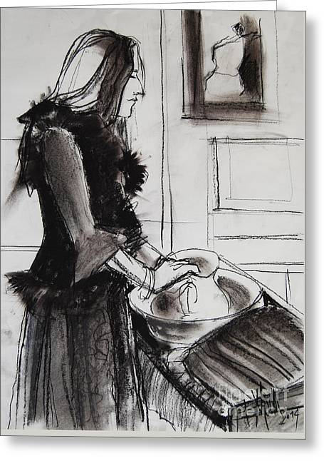 Model Drawings Greeting Cards - Woman with small pitcher - model #6 - figure series Greeting Card by Mona Edulesco