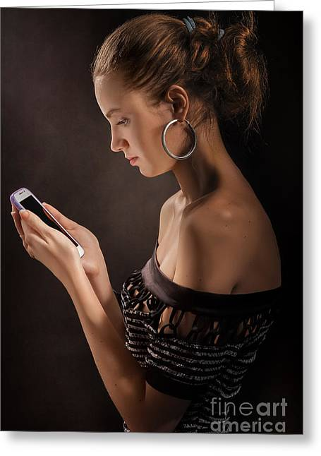 Cellphone Greeting Cards - Woman With Smartphone Greeting Card by Aleksey Tugolukov