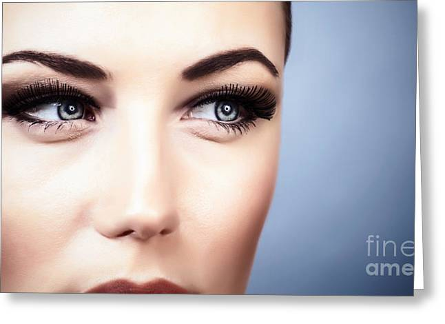 Eyebrow Greeting Cards - Woman with stylish makeup Greeting Card by Anna Omelchenko