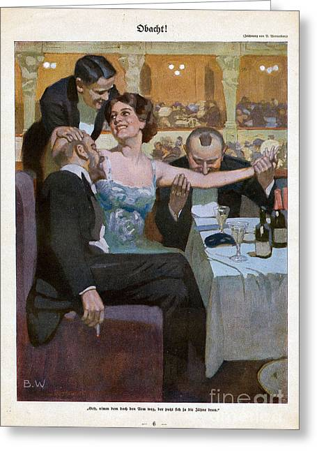 With Love Drawings Greeting Cards - Woman With Suitors In Restaurant 1920s Greeting Card by The Advertising Archives
