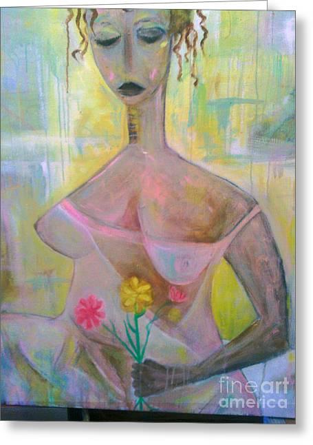 Robert Daniels Paintings Greeting Cards - Woman With Three Flowers Greeting Card by Robert Daniels