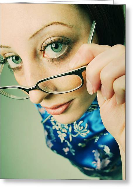 Jewellery Greeting Cards - Woman With Trendy Glasses Greeting Card by Kelly Redinger