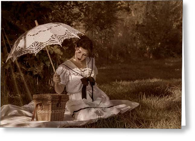 Woman with Umbrella  Greeting Card by Garett Gabriel