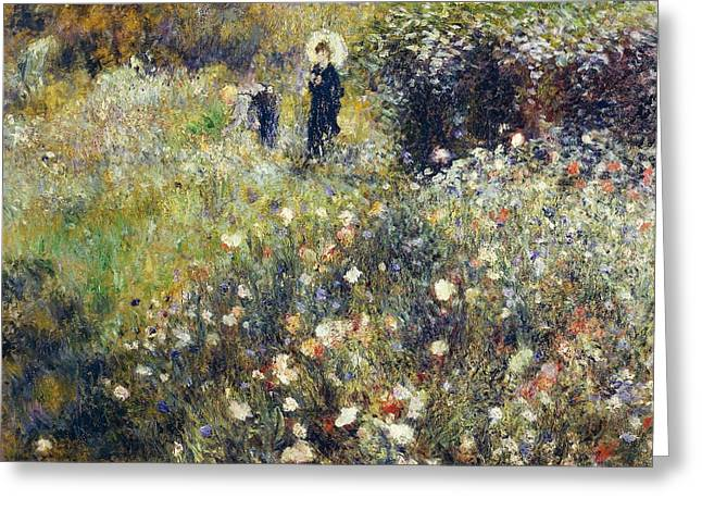 1874 Greeting Cards - Woman with umbrella in garden Greeting Card by Pierre-Auguste Renoir