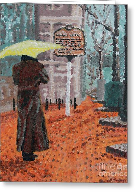 Charlotte Paintings Greeting Cards - Woman with Umbrella Greeting Card by Robert Yaeger