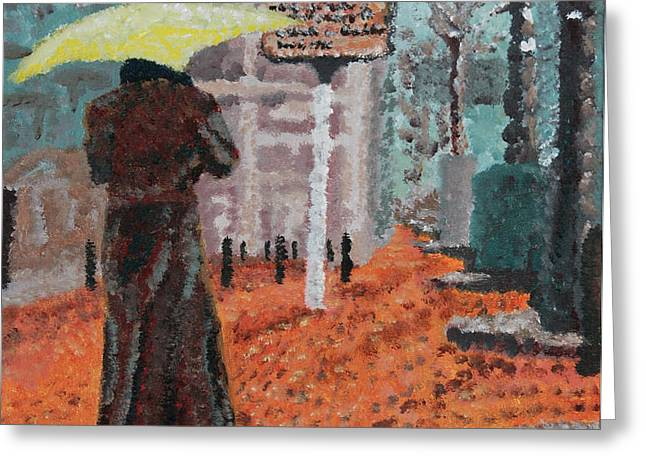 Woman with Umbrella Greeting Card by Robert Yaeger