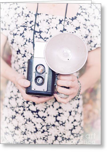 Reflex Greeting Cards - Woman with vintage camera Greeting Card by Edward Fielding