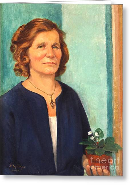 1950s Portraits Paintings Greeting Cards - Woman with Violets Greeting Card by Art By Tolpo Collection