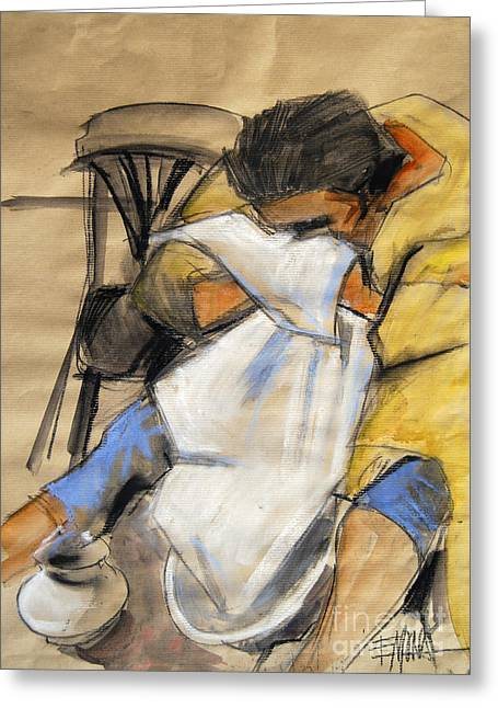 Gypsy Paintings Greeting Cards - Woman with white towel - Helene #9 - figure series Greeting Card by Mona Edulesco