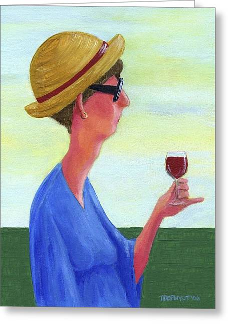 Women Tasting Wine Greeting Cards - Woman With Wine Greeting Card by Theresa Johnson
