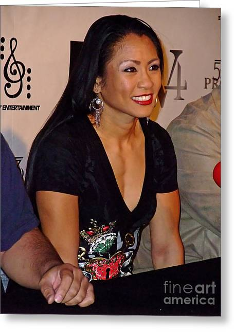 Short Sleeves Greeting Cards - Womans Boxing Champion Filipino American Ana Julaton at a Pre Fight Press Conference  Greeting Card by Jim Fitzpatrick