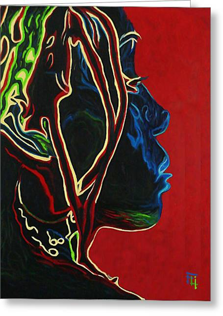Close Up Paintings Greeting Cards - Womans Essence  Greeting Card by  Fli Art