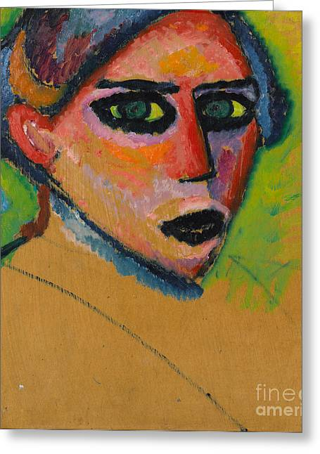 Strength Paintings Greeting Cards - Womans face Greeting Card by Celestial Images