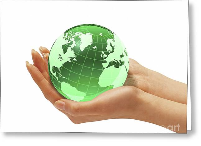 Nature Study Digital Art Greeting Cards - Womans Hands Holding An Earth Globe Greeting Card by Leonello Calvetti