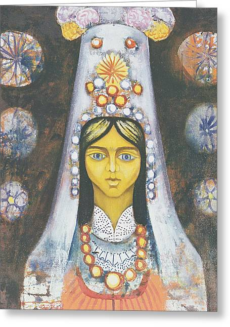 Jeweled Dress Greeting Cards - Womans Head, 1968 Oil On Canvas Greeting Card by Radi Nedelchev