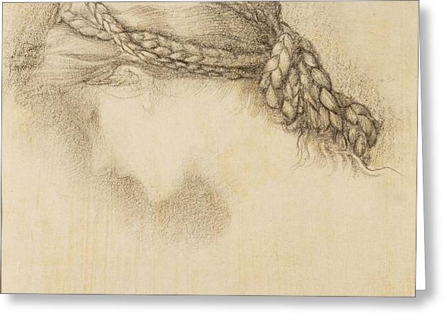 Womans Head, Detail From A Sketchbook Greeting Card by Sir Edward Coley Burne-Jones