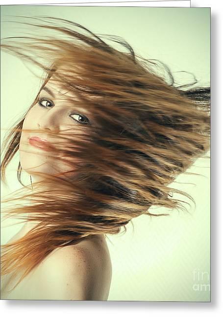 Long Jump Greeting Cards - Womans Long Hair Flying Greeting Card by Aleksey Tugolukov