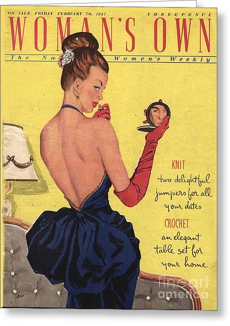 Twentieth Century Greeting Cards - Womans Own 1947 1940s Uk Make-up Makeup Greeting Card by The Advertising Archives