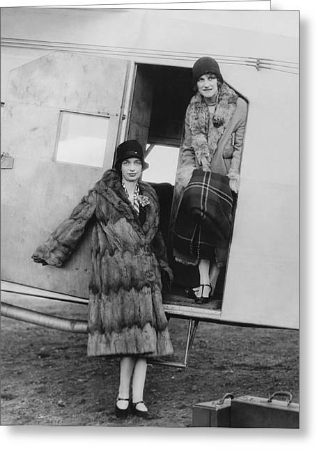 Women Airline Passengers Greeting Card by Underwood Archives