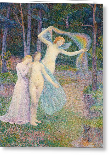The Trees Greeting Cards - Women amongst the Trees Greeting Card by Hippolyte Petitjean