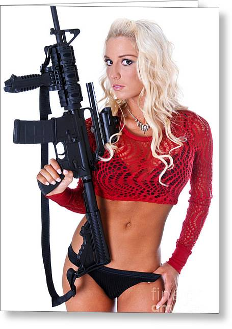 Hot Gun Greeting Cards - Women and Guns Greeting Card by Jt PhotoDesign