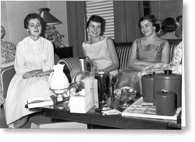 Tea Party Greeting Cards - Women At A Housewares Party Greeting Card by Underwood Archives