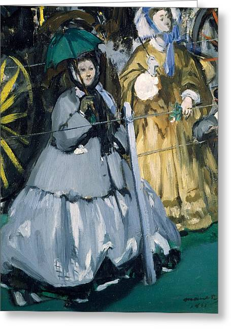 Daily Life Greeting Cards - Women At The Races, 1865 Oil On Canvas Greeting Card by Edouard Manet
