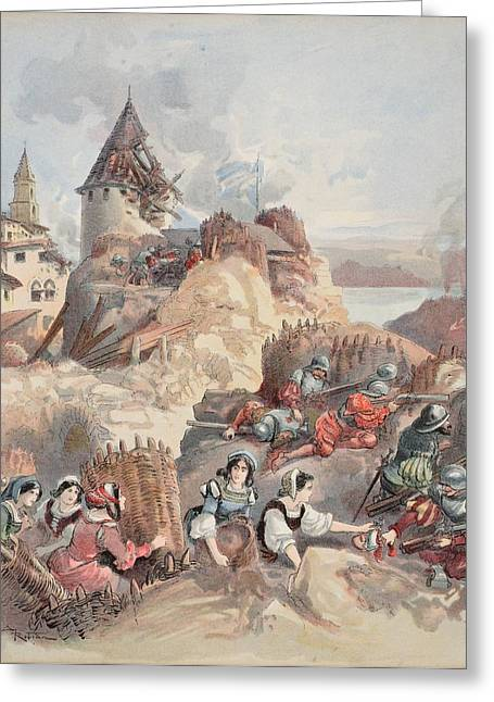 Bravery Drawings Greeting Cards - Women At The Siege Of Marseille Greeting Card by Albert Robida