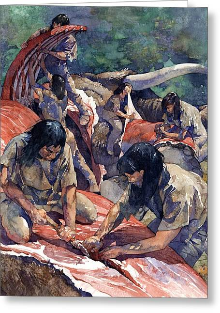 Stone Age Greeting Cards - Women Butchering Mastodon Greeting Card by Greg Harlin