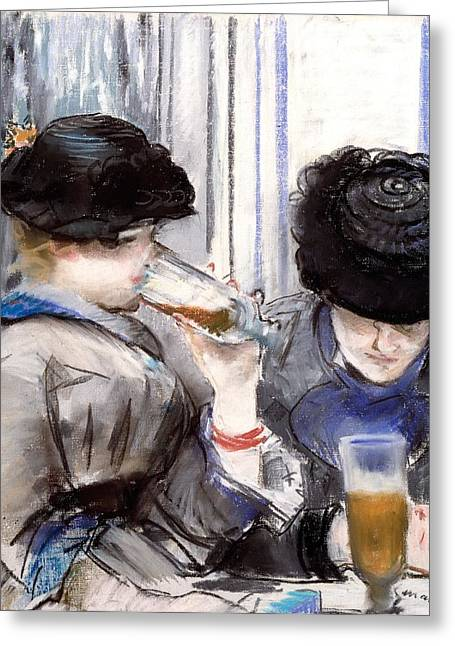Women Drinking Greeting Cards - Women Drinking Beer, 1878 Greeting Card by Edouard Manet