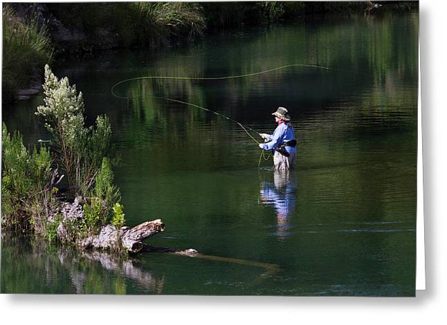 Women Fly-fishing In The South Llano Greeting Card by Larry Ditto