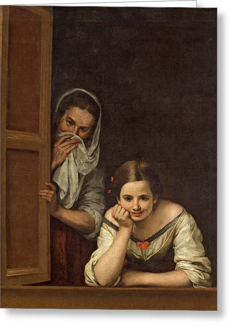Ledge Greeting Cards - Women from Galicia at the Window Greeting Card by Bartolome Esteban Murillo