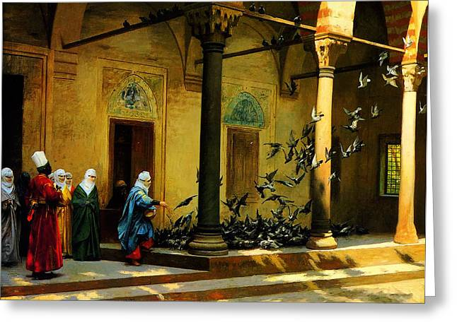 Bey Greeting Cards - Women from Harem feeding pigeon Greeting Card by Osman Hamdi Bey