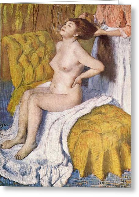 Divan Greeting Cards - Women Having Her Hair Combed Greeting Card by Edgar Degas