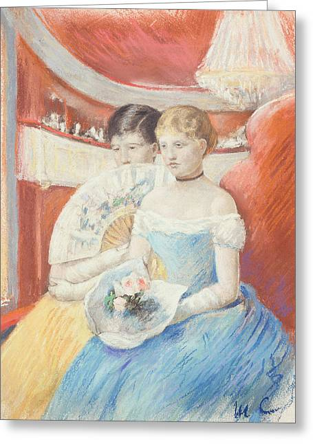Woman In A Dress Greeting Cards - Women in a Loge Greeting Card by Mary Stevenson Cassatt