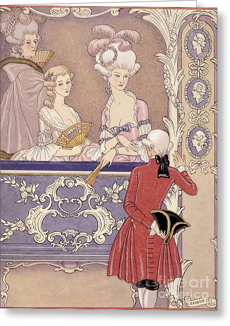 Ignore Greeting Cards - Women in a Theater Box Greeting Card by Georges Barbier