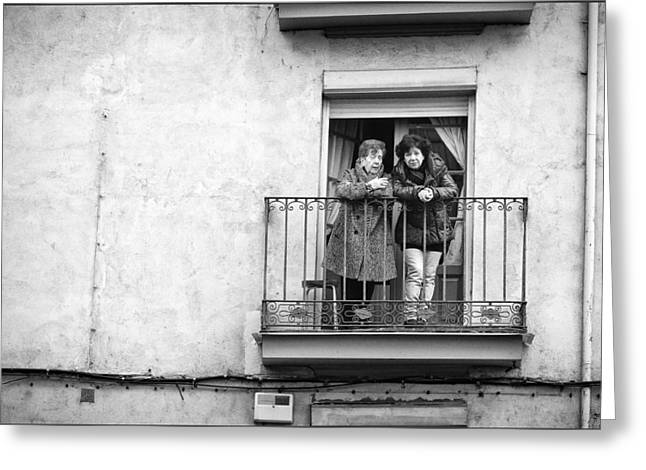 Holy Week Greeting Cards - Women in balcony Greeting Card by Pablo Lopez