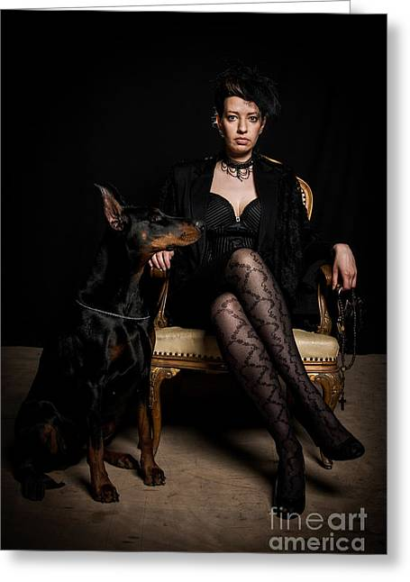 Women Only Greeting Cards - Women in black with doberman pinscher dog Greeting Card by Project B