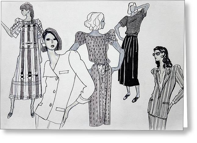 Residential Drawings Greeting Cards - Women in Fashion Greeting Card by Sarah Parks