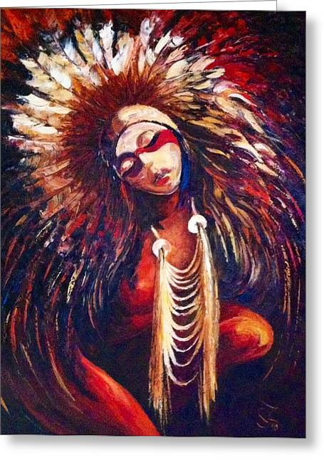 Native American Nude Woman Greeting Cards - Women in Red Greeting Card by Siranush Zakar