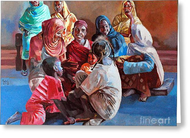 Mohamed Fadul Greeting Cards - Women in the village Greeting Card by Mohamed Fadul