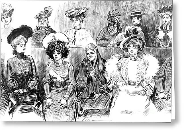 Pen And Ink Drawing Photographs Greeting Cards - Women Jurors 1902 Greeting Card by Padre Art