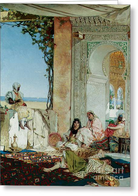 Seraglio Paintings Greeting Cards - Women of a Harem in Morocco Greeting Card by Jean Joseph Benjamin Constant