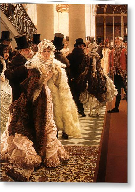 Soiree Gown Greeting Cards - Women of Fashion Greeting Card by James Tissot