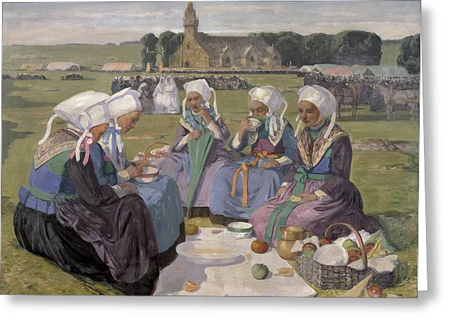 Femme Greeting Cards - Women Of Plougastel At The Pardon Of Notre-dame De La Palud, 1903 Oil On Canvas Greeting Card by Charles Cottet