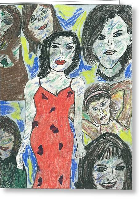 Women Of The 90's Collage Greeting Card by Mark Flanagan