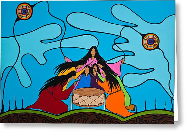 Woman Drumming Greeting Cards - Women Of The Shore Greeting Card by Krystle Retieffe