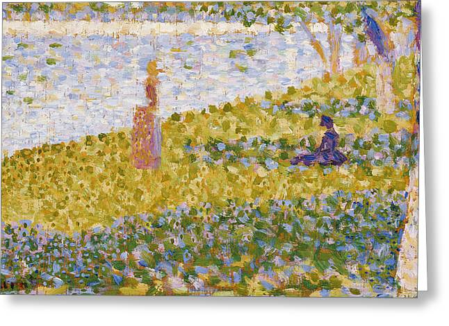 Georges Pierre Greeting Cards - Women on the River Bank Greeting Card by Georges Pierre Seurat