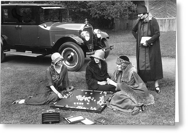 Playing Car Greeting Cards - Women Playing Mahjong Greeting Card by Underwood Archives